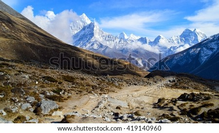 Path in the mountains, Everest region, Nepal. - stock photo