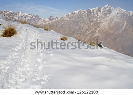 path in the snow - stock photo