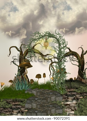 path in the tree with strange vegetation - stock photo
