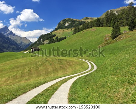 Path leading to alpine hut in Splugen, Switzerland CH - stock photo