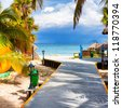 Path leading to the tropical beach of Varadero in Cuba - stock photo