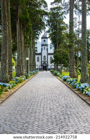 Path leads to Sete Cidades Church, Sao Miguel, Azores, Portugal, Europe - stock photo
