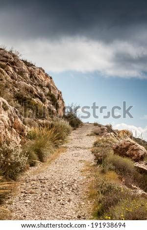 path mountain - stock photo