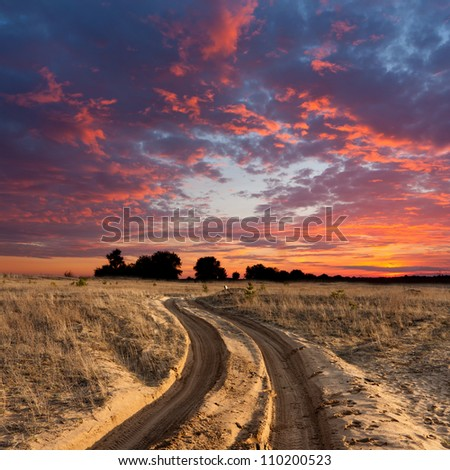 path on sandy steppe on sunset