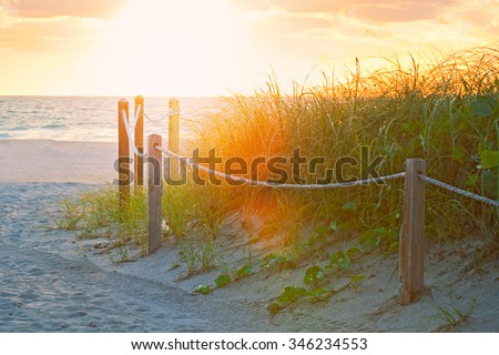 Path on the sand going to the ocean in Miami Beach Florida at sunrise or sunset, beautiful nature landscape, retro instagram filter with flares for vintage looks