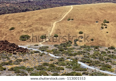 Path seen from viewpoint in Teide National Park, Tenerife, Canary Islands, Spain