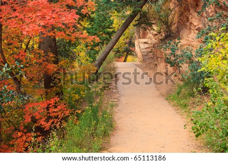 Path through Refrigerator Canyon towards Angels Landing in Zion Canyon National Park, Utah. - stock photo