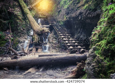 Path through rocky canyon - stock photo