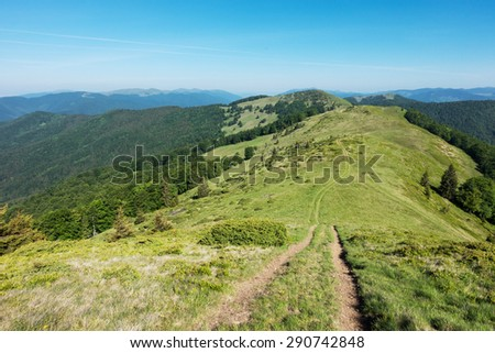 Path through the amazing spring mountain ridge under blue sky - Svydovets range, Carpathians, West Ukraine - stock photo