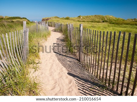 Path to Crescent Beach at Block Island, Rhode Island - stock photo