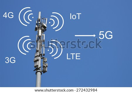 Path to 5G cellular networks - mobile network technology concept. Internet of things, IoT. Machine to machine. High speed mobile broadband. Wireless cellular network. Signaling data. - stock photo