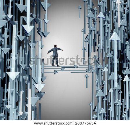 Path to profit business concept as a person walking away from a losing group of downward direction arrows towards  upward symbols of success and profitable opportunity. - stock photo