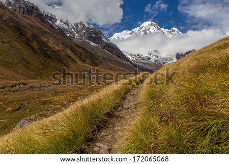 Path to the Annapurna south mountain, Nepal - stock photo