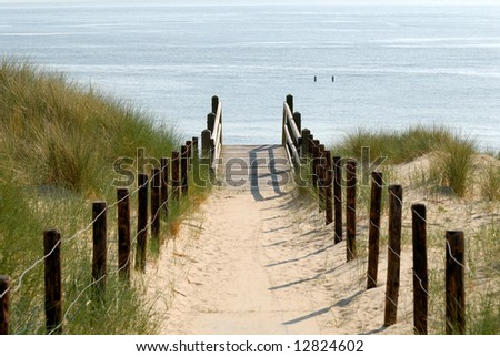 Path to the beach, Netherlands - stock photo