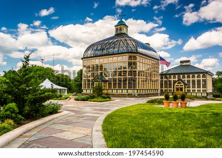 Path to the Howard Peters Rawlings Conservatory in Druid Hill Park, Baltimore, Maryland. - stock photo
