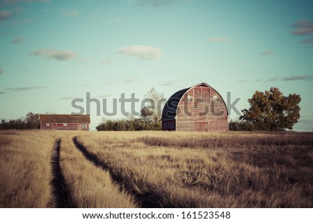 Path to the old red barn on a farm - stock photo
