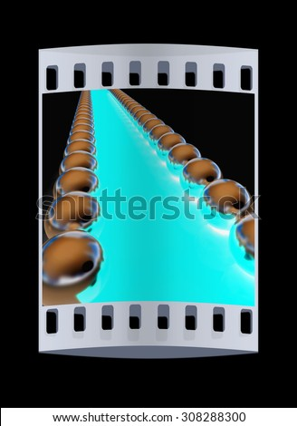 path to the success on a black background. The film strip - stock photo