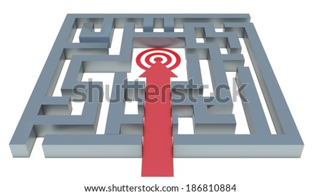 path to the target in the maze - stock photo