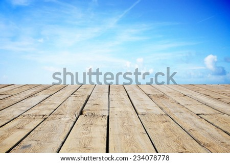 Path wooden with view to the sky - stock photo