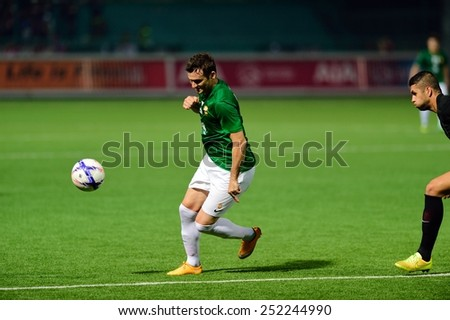 PATHUMTHANI,THAILAND-FEB2015:Leandro De Oliveira(g) of BGFC in action during geam AFC Champions League 2015 : BangkokGlassFC(Th) 3-0 JohorDarulTakzim(My) at LeoStadium on February 10, 2015 in Thailand - stock photo