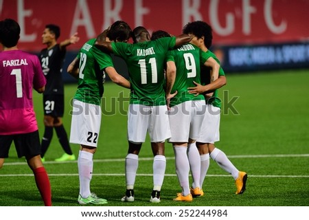 PATHUMTHANI,THAILAND-FEB2015:Players of BGFC celebrates after score in during geam AFC Champions League 2015 : BangkokGlassFC(Th) 3-0 JohorDarulTakzim(My) at LeoStadium on February10, 2015 in Thailand - stock photo