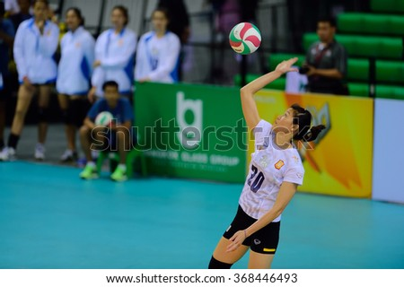PATHUMTHANI,THAILAND, JAN 2016: Nguyen Thi Ngoc Hoa player of BGVC in action during geam Volleyball Thailand league 2016, BangkokGlassVC and King-BangkokVC at BG Hall on January 24,2016 in Thailand