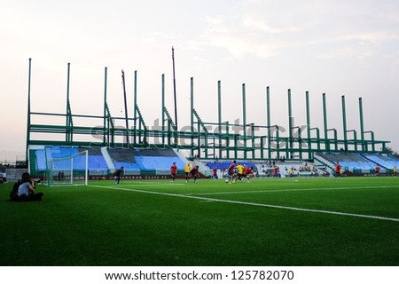 PATHUMTHANI,THAILAND JAN 24:View of Leo Stadium during a friendly match between Bangkok Glass FC and Singapore Armed Forces FC at Leo Stadium on JAN 24,2013 in Thailand