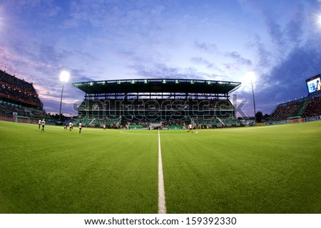 PATHUMTHANI,THAILAND-20 JULY:View of Leo Stadium during Thai Premier League between Bangkok Glass fc.and Burirum Utd.at Leo Stadium on July 20,2013 in Thailand - stock photo