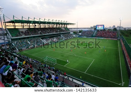 PATHUMTHANI,THAILAND JUN 2013 :View of Leo Stadium of Bangkok Glass FC during Thai premier League 2013 between Bangkok Glass FC and SCG MUANGTHONG UNITED at Leo Stadium on JUNE 9, 2013 in Thailand