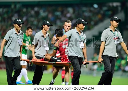 PATHUMTHANI,THAILAND, MARCH 2015 :action during geam Thai premier League 2015 between Bangkok Glass FC and Bangkok UTD at LeoStadium on MARCH 11, 2015 in Thailand - stock photo