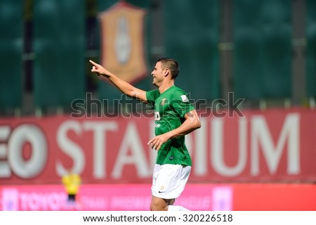 PATHUMTHANI,THAILAND, SEPTEMBER 2015: Aridane Santana of BGFC in action during geam Thai Premier League 2015 between Bangkok Glass FC and Army United at LeoStadium on SEPTEMBER 22, 2015 in Thailand.