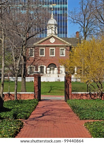 Pathway along the old town of Philadelphia - stock photo