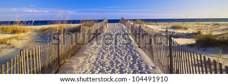 Pathway and sea oats on beach at Santa Rosa Island near Pensacola, Florida - stock photo