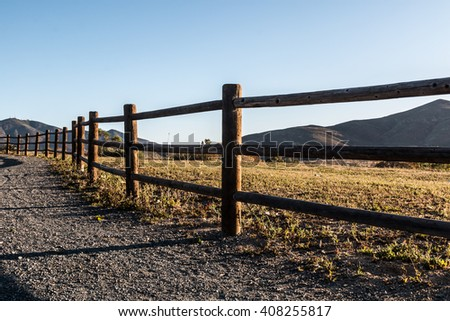 Pathway, fence and mountain in Chula Vista, California.