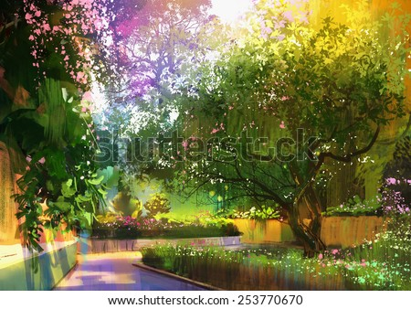 pathway in a peaceful green park.digital painting
