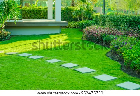 Incroyable Pathway In Garden,green Lawns With Bricks Pathways,garden Landscape Design