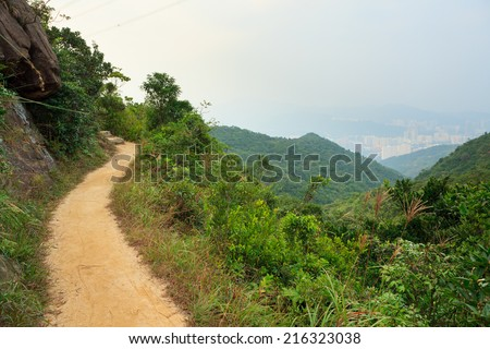 Pathway in hong kong mountains - stock photo