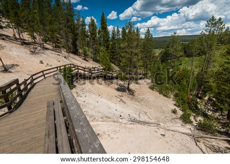 pathway in hot spring area in  Yellowstone National Park,Wyoming,Usa - stock photo