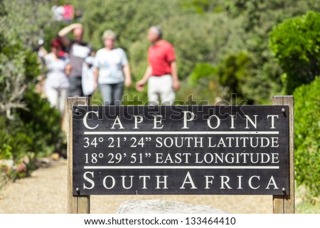 Pathway in the cape town leading to Cape point lighthouse - stock photo