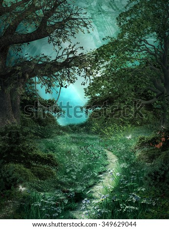 Pathway in the green magic forest - stock photo