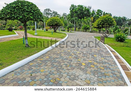 Pathway in the park - stock photo