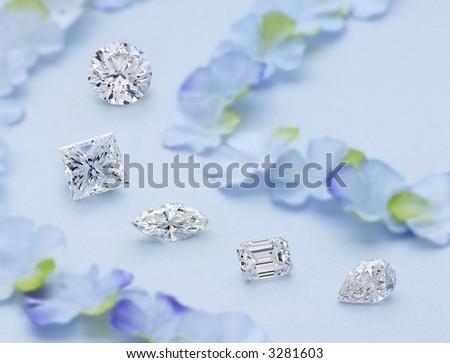 Pathway of 5 Diamonds - stock photo