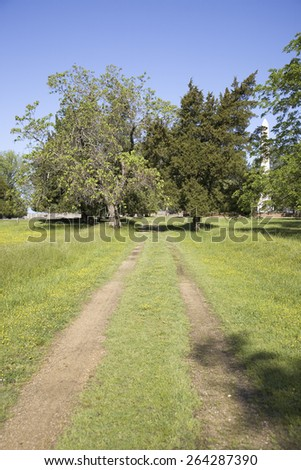 Pathway of New Towne of Jamestown, Jamestown Island, America's Birthplace, Virginia, built after 1620, the very first Main Street of America.  - stock photo