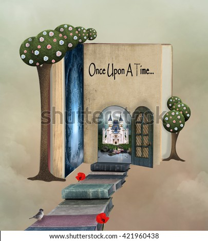 Pathway to the book land - 3D and digital painted illustration - stock photo