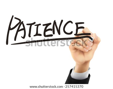 patience word written by hand on a transparent board - stock photo