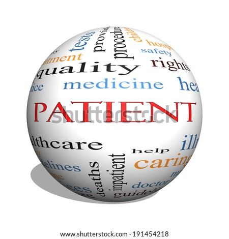 Patient 3D sphere Word Cloud Concept with great terms such as medicine, rights, healthcare and more. - stock photo