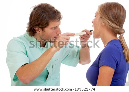 Patient during throat chceck up on isolated background