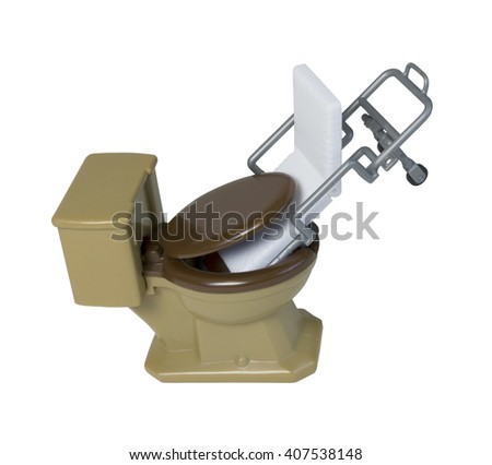Patient Gurney shoved down into a Toilet to demonstrate medical and health issues - path included - stock photo