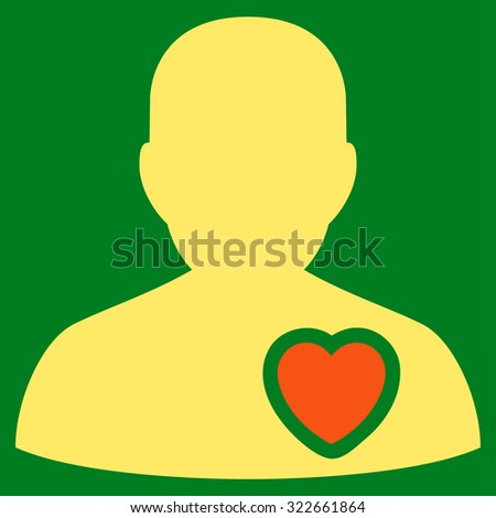 Patient Heart glyph icon. Style is bicolor flat symbol, orange and yellow colors, rounded angles, green background. - stock photo