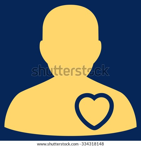 Patient Heart raster icon. Style is flat symbol, yellow color, rounded angles, blue background. - stock photo